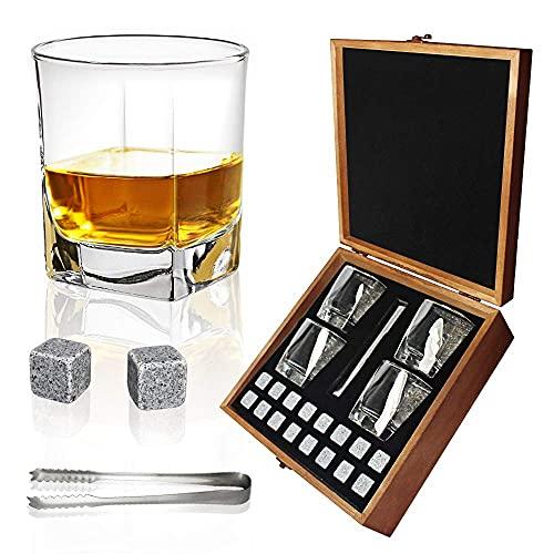 Almagic Juego de 4 vasos cuadrados de cristal para whisky, diseño escocés o bourbon