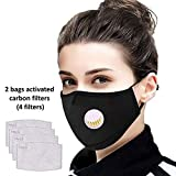 Tdas anti pollution mask for men women n95 n99 pm2.5 with filter air masks washable reusable - 1 Mask with 2 bags filters (4 filters)