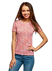 oodji Collection Mujer Camiseta Recta con Cuello Redondo