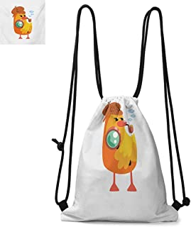Cartoon Durable Drawstring Backpack Private Detective Duckling Character with a Magnifying Glass and Pipe Duck Sherlock Suitable for Carrying Around W17.3 x L13.4 Inch Multicolor