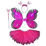 Max-Tonsen Disfraz de Hada de 4 Piezas para niños Adultos, simulación de LED, alas de Mariposa, Falda de tutú Puntiaguda, Diadema, Varita, Princesa, niñas, Vestido de Fiesta, 2