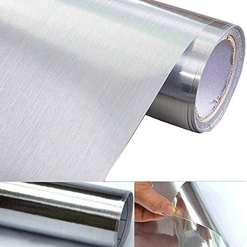 WDragon Silver Metal Look Adhesive Paper Peel Stick Vinyl Waterproof Anti Greasy Counter Top Metallic Sticker Shelf Liner For Kitchen Dishwasher Oven Refrigerator,15.8inch By 79inch