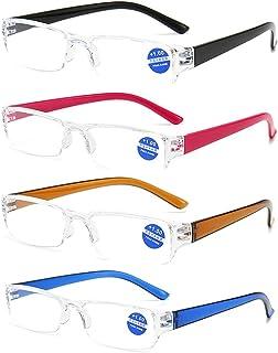 KoKoBin 4 stuks halfbeeld ultralichte leesbril met blauw lichtfilter, anti-blauw leeshulp voor dames en heren