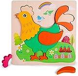 Rolimate Rompecabezas de madera - Rompecabezas de patrón de gallo para niños y niñas de 3 4 5+ años, juguetes preescolares preescolares de educación temprana para regalo de cumpleaños,juguete de viaje