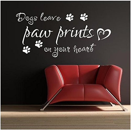 Red Parrot Graphics Dogs Leave Pattes sur Votre Cœur Citation Art Mural Autocollant Transfert panoramique, Medium 57cm x 100cm