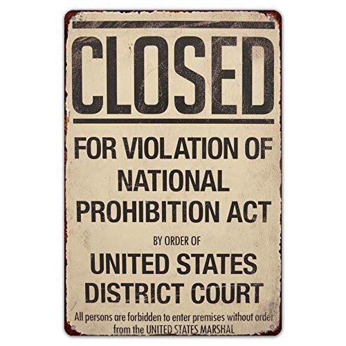 HomDeo Decor Art - Cartel de chapa para gimnasio (20,3 x 30,4 cm, diseño de de la prohibición cerrada, estilo vintage, bodega de vinos, estilo vintage y retro