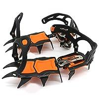 12歯調節可能なアイスグリッパー滑り止めクライミングアイゼンクリート靴カバーハイキング冬の雪のスパイクブーツマンガン鋼の靴