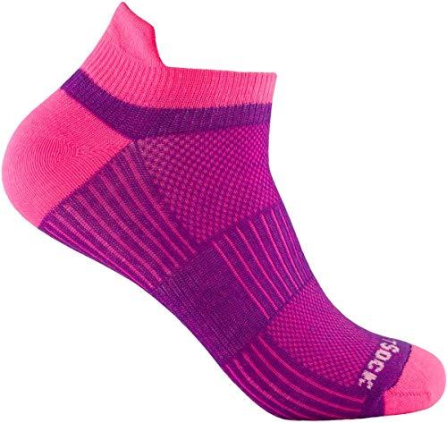 Wrightsock Profi Sportsocke Sneakers Low Tab - anti-blasen - Farbe pink plum, Gr. M