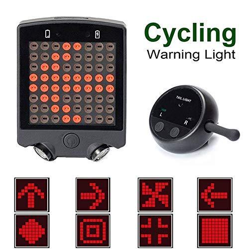 Elikliv Fahrrad Blinker Licht Rücklicht Fahrrad Licht 64 LED 15 Lumen Wasserfest Mit Kabellos Fernbedienung Wiederaufladbar Fahrrad Drehung Warnung Rücklicht für Sicherheit Fahrrad