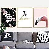 ganlanshu Rosa Dulce Flor Rosa pájaro impresión Arte Cartel Lienzo Pintura minimalismo,Pintura sin Marco,50x67cmx3