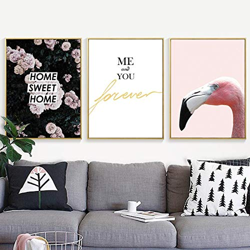 ganlanshu Rosa süße Blume rosa Vogel drucken Kunstplakat Leinwand Malerei Minimalismus,Rahmenlose Malerei,40x53cmx3