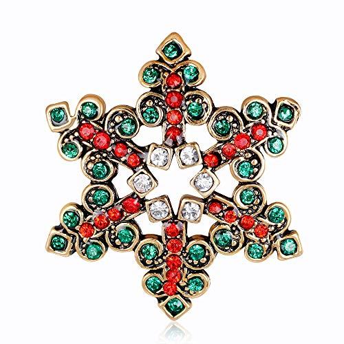 SGZBY Navidad Regalos Creativos Moda Navidad Copo De Nieve Broche Aleación con Incrustaciones Accesorios De Ropa