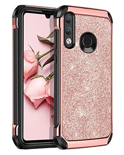BENTOBEN Funda Huawei P30 Lite 2019 Purpurina Carcasa Combinada 2 en 1 Silicona TPU+PC Durable Resistente Protección Delgada [Compatible con Carga Inalámbrica] para Huawei P30 Lite -6.15''-Oro Rosa