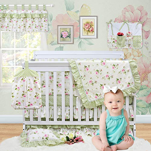 Brandream Baby Girls Nursery Crib Bedding Sets with Bumpers Fairy Tale Farmhouse Bedding Green Rose Floral Printed Cotton, 11pcs Best