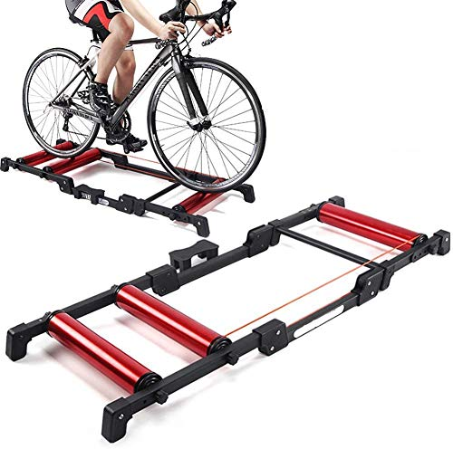LYTBJ Adjustable Indoor Cycling Bike Trainer Stand with Noise Reduction Wheel Indoor Portable Bicycle Rollers for 24-29 Inch 700C Road And Mountain Bikes
