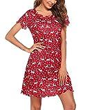 Ekouaer Christmas Printed Lounger House Dress for Women Ruffle Seams Short Sleeve Thigh Length Nightgown Soft Sleepshirt M