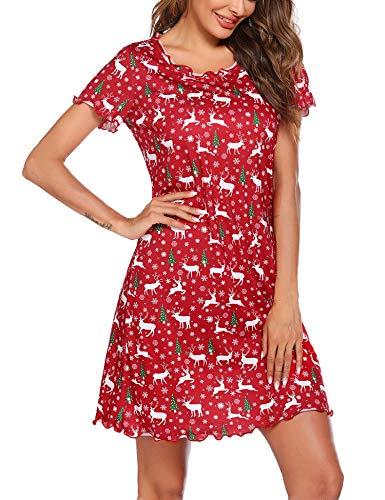Ekouaer Christmas Nightgown Womens Cotton Night Shirt for Sleeping Sleepwear Short Sleeve Cute Ruffle Seams Print Sleep Shirts L