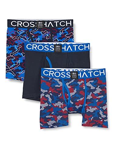 CrossHatch Herren LINAMO Boxershorts, blau, L (3er Pack)