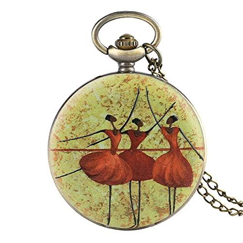 FZYE Reloj de Bolsillo Vintage, patrón de Bailarina de Ballet Reloj de Bolsillo Restauración de Literatura y Arte Relojes de Bolsillo Reloj de Bolsillo Estilo Reloj Colgante
