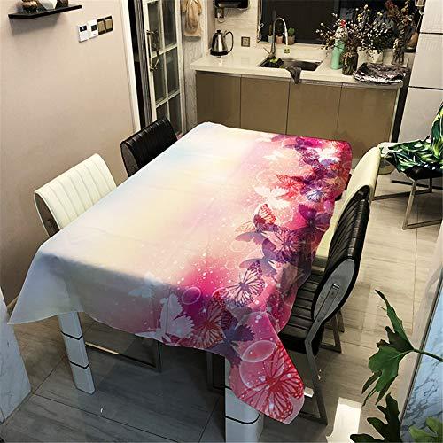 Morbuy Nappe Anti Tache Rectangulaire/Carrée, Imperméable Étanche à l'Huile 3D Imprimé Couverture de Table Lavable pour Ménage Cuisine Jardin Picnic Exterieur (Rose Rouge Papillon,100x140cm)