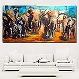 hetingyue Tierkunst Afrikanische Elefantenfamilie große