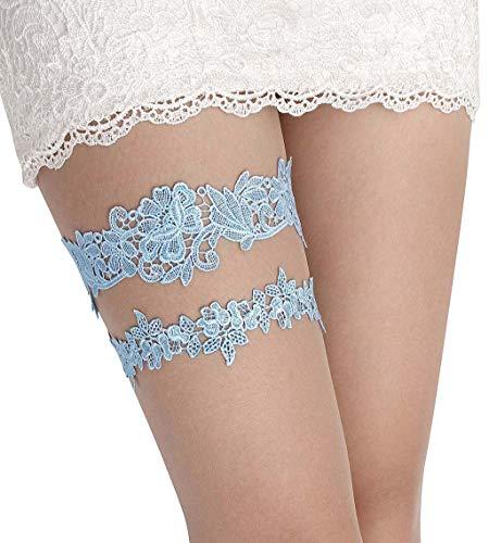 Wedding Garter Set Lace Garters Belt Bride Women White Blue Garter Size Optional (Sky Blue, M 16 inches)