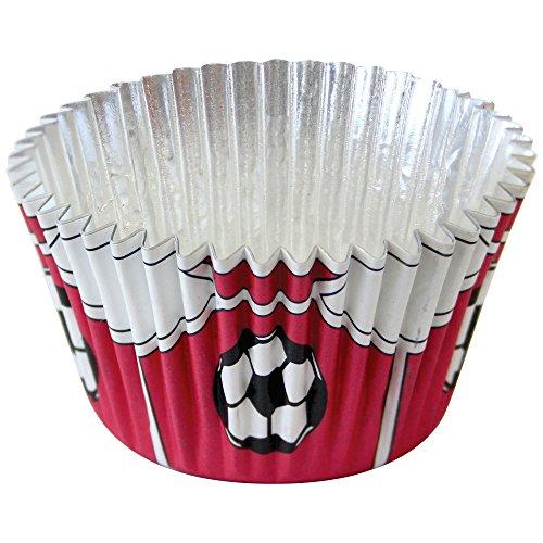 PME - Caissettes à Cupcakes Rouges Doublées d'aluminium Motif Ballons de Football, Dimensions Standard Avec Plus Grande Profondeur, Lot de 30