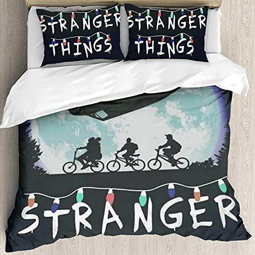 Stranger Thingso Anime Juego de funda de edredón con dos fundas de almohada de impresión 3D, fundas de almohada de diseño de patrón moderno, multicolor, no incluye edredón