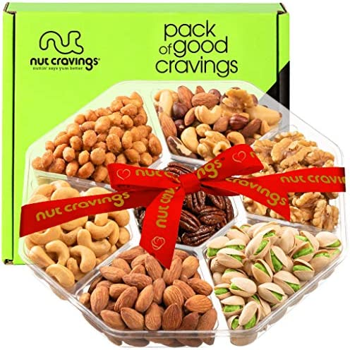 Gourmet Nut Gift Basket Red Ribbon 7 Mix Tray Easter Food Arrangement Platter Care Package Variety product image