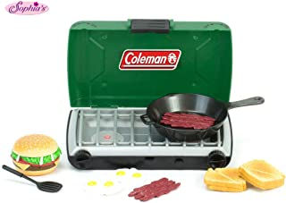 Sophia's Green Coleman 18 Inch Doll Camping Stove & Food Set with Frying Pan Perfect for American Girl Dolls & More! 18 Inch Doll Green Coleman Campfire Stove and Mini Doll Food Set