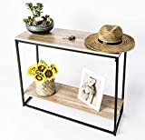 INDIAN DECOR . 45445 Console Entry Table for Entryway Hallway Sofa - Storage Shelf - Black and Wood - Made in India