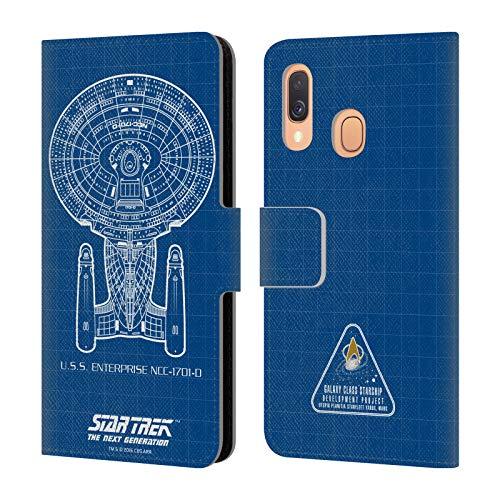 Head Case Designs Offizielle Star Trek USS Enterprise NCC-1701-D Linienschiffe TNG Leder Brieftaschen Huelle kompatibel mit Samsung Galaxy A40 (2019)
