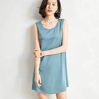 Silk dress female silk suspender skirt female round neck loose large size A-line vest long skirt