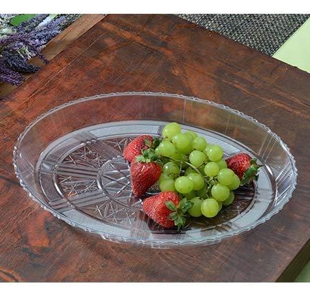 Paquete de 3 elegantes bandejas de plástico ovaladas con aspecto de cristal, bandejas decorativas   Plato de plástico para alimentos – 33 x 24 cm