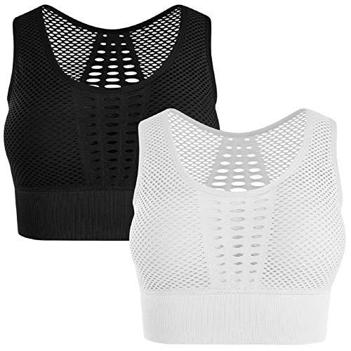 Tuopuda Damen Sport BH Mit Vorne Reißverschluss und X-Rücken Stark Halt Gepolstert BH High Impact Support Bra für Yoga Fitness Gym