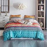 Argstar 3 Pcs King Duvet Covers, Bohemian Retro Bedding Set, Coloful Mandala Down Comforter Cover, Boho Floral Style Quilt Cover, 100% Ultra Microfiber, 1 Duvet Cover and 2 Pillow Shams