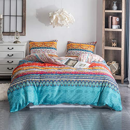 Argstar 3 Pcs Queen Duvet Covers, Bohemian Retro Bedding Set, Coloful Mandala Down Comforter Cover, Boho Floral Style Quilt Cover, 100% Ultra Microfiber, 1 Duvet Cover and 2 Pillow Shams