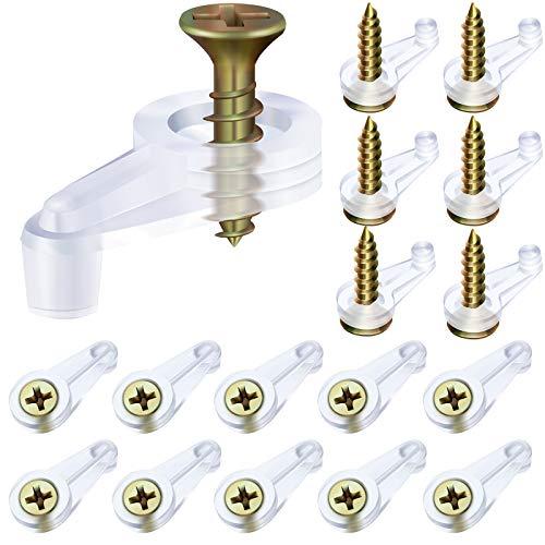 Glass Retainer Clips Kit, Glass Door Retainer Clips Plastic Glass Panel Retainer Clips Mirror Clips with Screws for Cabinet Door (40)