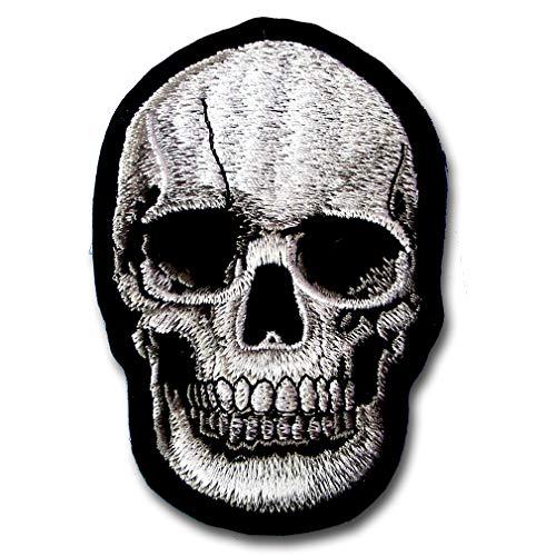 Verani Realistic Human Skull Head Dead Patch Jolly Roger Crossbone Grim Reaper Harley Lady Rider Biker Punk Heavy Metal Hard Rock Tatto Embroidered Iron on Badge Emblem