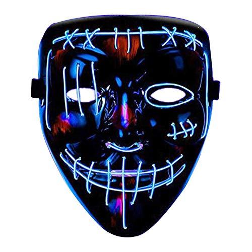 Shaying Maschera di Halloween LED Maschera illuminata Cosplay Incandescente Maschera Spaventosa El Luce Fredda Copertura Glow Prop per Costume di Halloween Festa in Maschera, 3 Colori