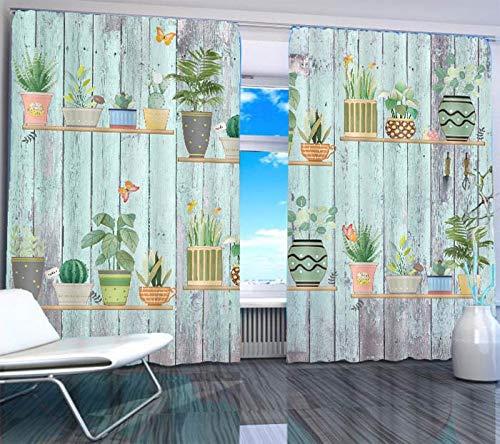 afdrukken gordijnen pas 2019 huis ramen Houten raad bonsai woonkamer slaapkamer modern venster verduisteringsgordijn printing: wide264cm high213cm, Grommet Top