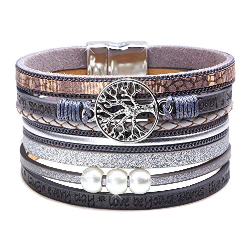 DESIMTION Womens Bracelets Family Wrap Around Boho Buckle Stacking Multilayer Leather Wide Magnetic Layered Tree of Life Bracelets for Women Mom Teen Girls