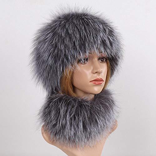 Gorros y Bufandas de Invierno 2 Gorros y Bufandas de Punto cálido para Mujer Silver Fox
