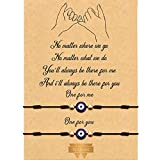 2 Piezas Pulseras de Promesa de Meñique Pulsera de Graduación a Juego a Distancia de Pareja Amistad Bohemia (Aojo)
