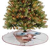 Alfombrilla para árbol de Navidad, diseño de cara humana de Derp, cómics, diseño simple, dibujo artí...
