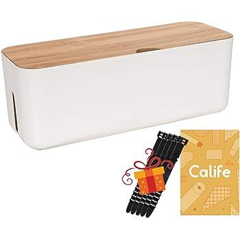 Calife 改良版 北欧インテリア 電源タップ & ケーブルボックス テーブルタップ収納ボックス 蓋は改良され竹製になり 5本シリコン製結束バンド付属 竹製&樹脂製 (白/ホワイト)