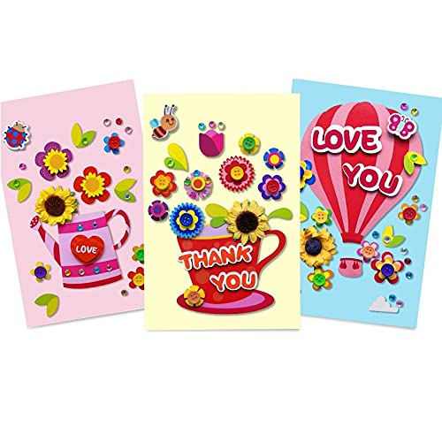 KONGMAODS 3 Sets Greeting Card Making Kits For Kids, Handmade 3D Gift Card Kits with Envelopes, DIY Handcraft For Kindergarten Children For Teacher's Day and Mother's Day