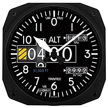 Trintec 3020 10  Aviation Modern Altimeter Instrument Style Wall Clock