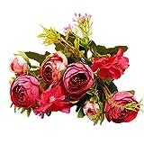 UEVOS Artificielle Faux Fleur Vintage Européenne 5 Fourchettes Bouquet Petit thé Rétro Rose 1 Bouquet De Fleurs De Soie Pivoine Bouquet pour La Décoration