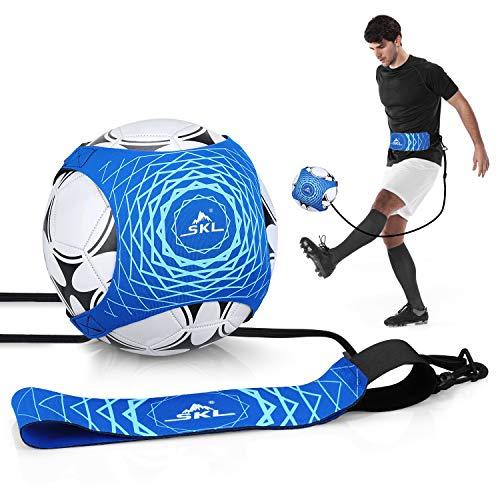 Fußballtraining Kinder Fußballtrainer Solo Fussball Kick Trainer,Solo Fußballtraining mit Verstellbarem Taillengürtel für Kinder Anfänger Kick Off Trainer blau